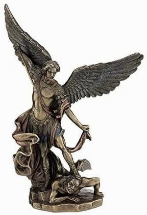 Archangel-Michael-Standing-Over-Demon-with-Sword