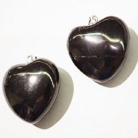 Shungite-Puffy-Sterling-Silver-Heart-Pendant